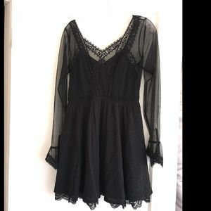 Free People Black Lace Skater Dress Long Sleeves